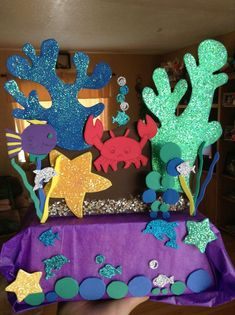 Under the sea centerpiece i made this for my daughter 8 birthday little mermaid under the sea theme! Little Mermaid Birthday, Little Mermaid Parties, The Little Mermaid, Under The Sea Theme, Under The Sea Party, Girl Birthday Decorations, 1st Birthday Parties, Party Themes, Ideas Party