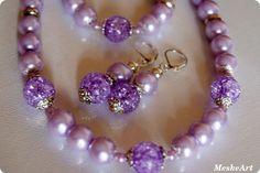 Light purple jewellery / Világoslila ragyogás ékszerszett - üveg teklagyöngyökből, Ékszer, óra, Ékszerszett, Fülbevaló, Karkötő, Meska