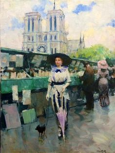 Victor Guerrier - Young Woman in Paris; Medium: oil on canvas; Dimensions: 81 X 60 cm.