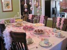 Tea Party Birthday Party- Im highly concidering doing this for Brieanas next birthday! I think she would love this idea! get lots of old dress up things for the kids to wear also :)