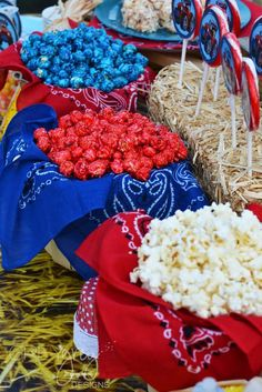 Red, white and blue popcorn at a tractor farm birthday party! See more party ideas at CatchMyParty.com!
