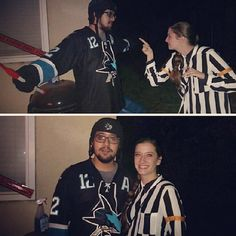 Jenn is geared up for #Sharkoween as she is dressed up as an NHL referee.