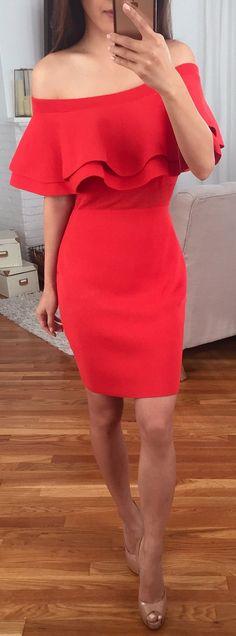 Red Off Shoulder Dress / Nude Open Toe Pumps