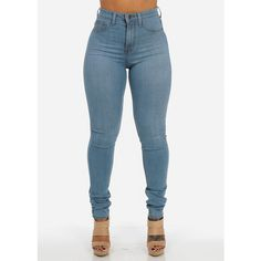 High Waisted Skinny Jeans (Vintage Blue) ($37) ❤ liked on Polyvore featuring jeans, pants, bottoms, jeans/pants, high-waisted jeans, vintage high waisted jeans, highwaist jeans, blue jeans and high rise jeans