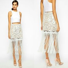 Self-Portrait White Looped Fringed Never worn! Brand new with tags! Additional pictures - pressenjuice@gmail.com Self-Portrait Skirts
