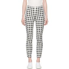 Rag and Bone Black and White Check Simone Trousers ($310) ❤ liked on Polyvore featuring pants, black, gingham pants, print pants, high-waist trousers, high-waisted pants and high-waisted trousers