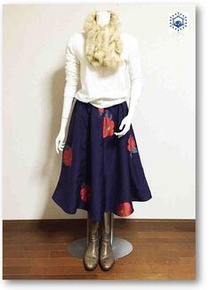 留紺(とめこん)色着物リメイクスギャザーフレアスカート23 - 衣里加