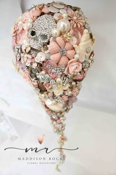 Cascading Whimsical alternative bouquet brides Vintage and retro brooch bouquet rhinestone button floral flower wedding posy bouquet by MaddisonRocks on Etsy