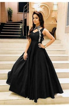 Luxurious Look With Blue Taffeta Satin Thread Work Gown Long Gown Dress, The Dress, Long Frock, Stylish Dresses, Fashion Dresses, Frock Fashion, Saree Fashion, Fashion Clothes, Women's Fashion