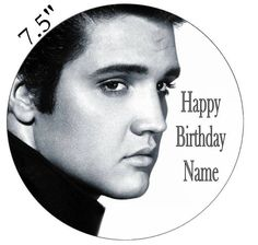 Personalised Elvis Edible Icing Topper Precut Round Square Rectangle