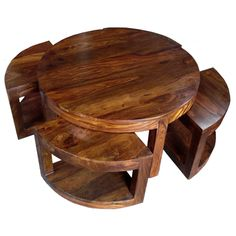 Handmade Furniture, Wooden Handicrafts, Rosewood Screens, Brass Inlaid Furniture, Room dividers : Jali Thakat Round Coffee Table with 4 Stools [JS63a] - £289.99