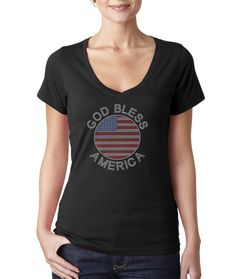 God Bless America with USA Flag Rhinestone T Shirt Original Price: $37.99  Discounted Price: $30.39  @ 20% till 30th June