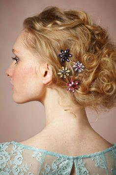 Wildflower Hairpins. Use all white for a wedding.
