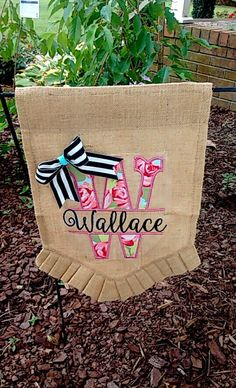 Superb Floral Black And White Striped Wedding Baby Shower Garden Burlap Ruffled  Bottom Flag