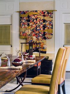 Asian style Dining Room details, antique Kimono  |   Parker West Interiors