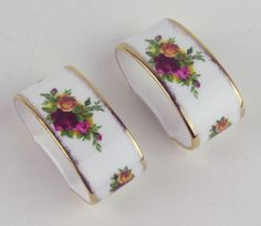 2 x Napkin Rings Royal Albert Old Country Roses Vintage 1962 England Stamp | eBay