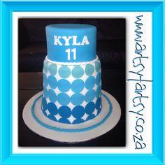 Double Barrel Blue Polka Dot Cake #bluepolkadotcake #doublebarrelcake