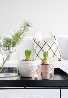 black and white Christmas decor with fresh greenery Inspiration Franck Provost Noel Christmas, Modern Christmas, Scandinavian Christmas, Christmas And New Year, Winter Christmas, Decoration Christmas, Holiday Decor, Deco Zen, Sweet Home