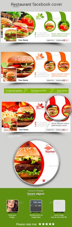 Restaurant Facebook Cover Template #design #psd Download: http://graphicriver.net/item/restaurant-facebook-cover/12794644?ref=ksioks