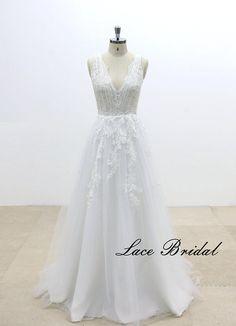 V-Cut shape Back Lace Wedding Dress with A Line Tulle Skirt, Summer Wedding Dress, Beach Wedding Dress