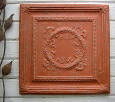 FRAMED 2'x2' Antique Ceiling Tile. Circa 1908. Ready to Hang. Architectural salvage.