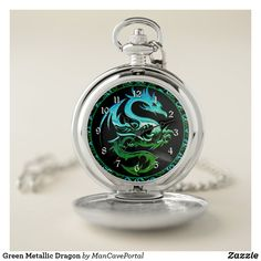 Green Metallic Dragon Pocket Watch Personalized Pocket Watch, Pocket Watches, Make A Gift, Cool Watches, Portal, Metallic, Dragon, Quartz, Man Shop