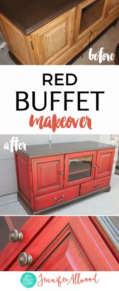 Red Buffet Makeover by Jennifer Allwood | How to Paint Furniture | Furniture Painting Tips | Painted Buffet Ideas | Red Furniture
