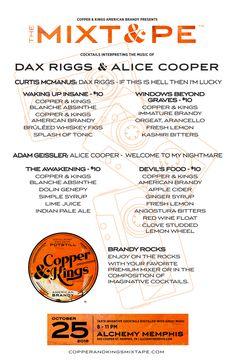 Copper & Kings MIXT&PE Menu at Alchemy, Memphis on Oct. 25, 2015. Cocktails interpreting the music of Dax Riggs & Alice Cooper #brandy #brandyrocks #mixtape #copperandkings #americanbrandy #craftbrandy #alchemy #memphis #tennessee #daxriggs #alicecooper #ifthisishellthenimlucky #wakingupinsane #windowsbeyondgraves #welcometomynightmare #theawakening #devilsfood #cocktail #cocktails #brandycocktail #drink #music