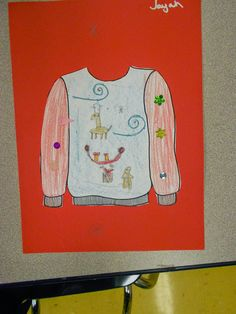 T'was the week before Christmas... Ugly Christmas Sweater handout/coloring page free download.