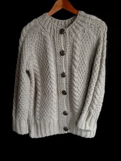 Hand knit wool sweater by MariyaMitov on Etsy Beige Color, Wool Sweaters, Warm And Cozy, Hand Knitting, Cardigans, Jackets, How To Wear, Handmade, Stuff To Buy