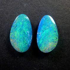 Natural Australian Opal Cabochon Pair   Opal by oblivionjewellery