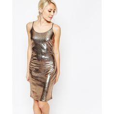 Vila Metallic Body-Conscious Dress ($33) ❤ liked on Polyvore featuring dresses, gold, shiny dress, white metallic dress, white cocktail dresses, tall dresses and metallic dress