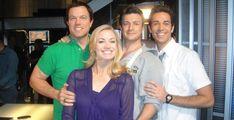 Adam Baldwin, Yvonne Strahovski, Nathan Fillion and Zachary Levi on the set of Chuck!! Picture by @kentuckysocal.