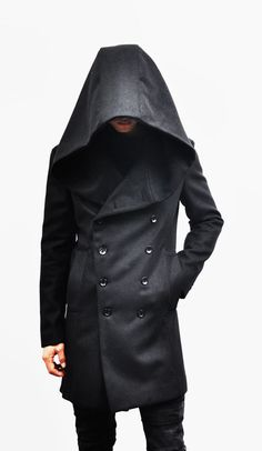 Outerwear :: Avant-garde Big Hood Double Coat-Coat 39 - Mens Fashion Clothing For An Attractive Guy Look