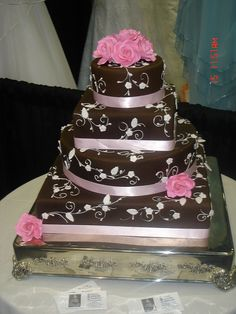 Wedding Cake with Stunning Pink or other color OR could be a Awesome Birthday Cake ; )