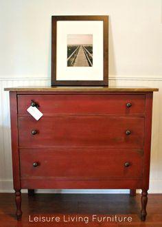 Annie Sloan Primer Red paint leisure living: Primer Red Dresser