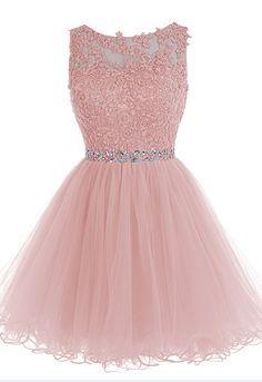 Blush Pink Short Prom Dress, Lace B