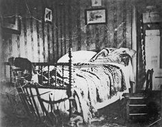 """""""April 15, 1865 The bed President Lincoln died in. He died in a boarding house after being shot at Fords Theater. On a side note I have this same bed handed down from my family."""""""