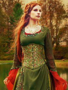 Timeless Trends Women's Steampunk Brocade underbust corset - rennaisance fair, scottish games,
