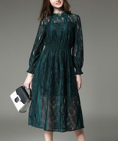 Loving this Green Lace Smocked Midi Dress on #zulily! #zulilyfinds