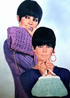 Crochet handbags, 1968 vintage fashion style color photo print ad model magazine 60s purple blue green purse