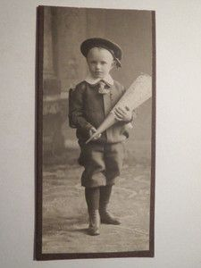 Vintage cabinet card of German boy on his first school day