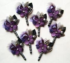 Purple and Black Wedding Boutonniere