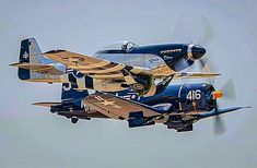 Pair of beauties. F4u Corsair, P51 Mustang, Spacecraft, Military Aircraft, World War Ii, Fighter Jets, Aviation, Vehicles, Helicopters