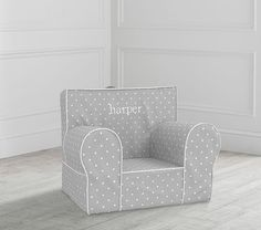 My First Gray Pin Dot Anywhere Chair® | Toddler Armchair | Pottery Barn Kids Toddler Armchair, Kids Armchair, Space Saving Beds, Baby Chair, Toddler Furniture, Designer Friends, Towel Wrap, Slipcovers For Chairs, Slipcover Chair