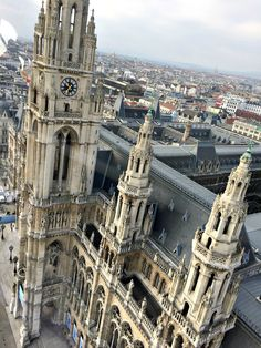 View of Vienna City Hall from Skyliner viewing tower (temporary). Architectural Features, Rooftops, Tower Bridge, Looking Gorgeous, Vienna, Exterior, Architecture, City, Building