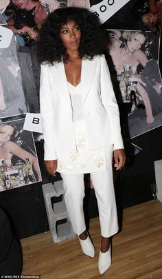 Solange - Putting her best fashionable foot forward: The 29-year-old donned a white embroidered suit with mules