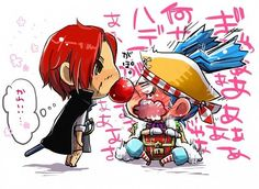 Buggy the clown and red hair shanks