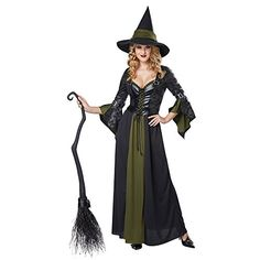California Costumes Womens Classic Witch Long Dress BlackGreen Large -- Amazon most trusted e-retailer  #HalloweenCostumes