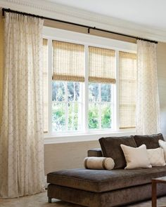 Shades with curtain panels: Natural Woven Waterfall Shades Color: Fiji Natural 13555 Single Pleat Drapery Color: Destiny/Ivory 14993 Boudoir Pillow Color: Destiny/Ivory 14993 Tailored Square Pillow Color: Hemp/Natural 9438 Bedroom Windows, Living Room Windows, House Windows, Living Room Decor, Windows Decor, Dining Room, Picture Window Treatments, Window Treatments Living Room, Large Window Curtains